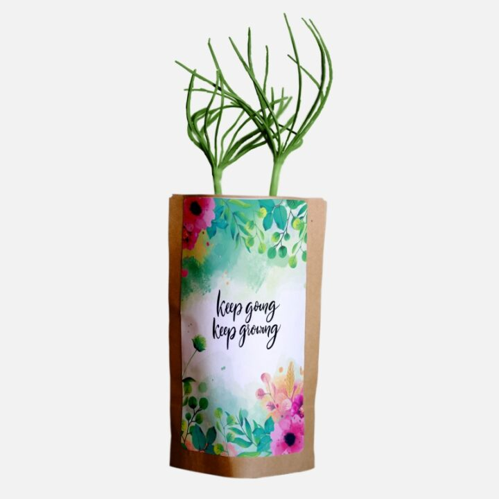 Inspire oneself, friends, or a loved one with these ''Keep going, keep growing'' encourage pouches.