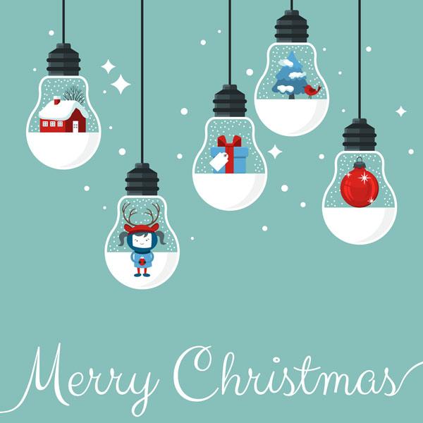Modern-Christmas-card-flat-stylish-design.-Creative-design-with-hanging-light-bulbs